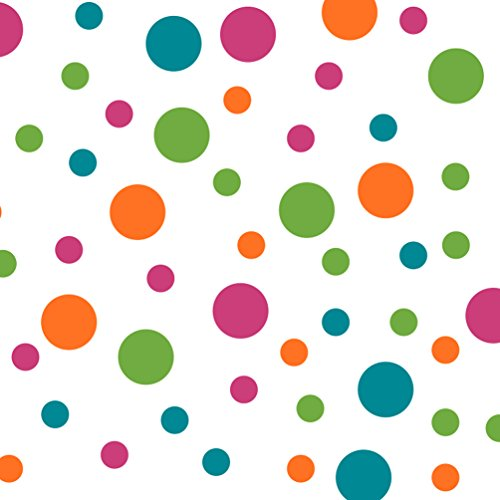 Set of 60 Circles Polka Dots Vinyl Wall Graphic Decals Stickers (Hot Pink/Lime Green/Orange / Turquoise)