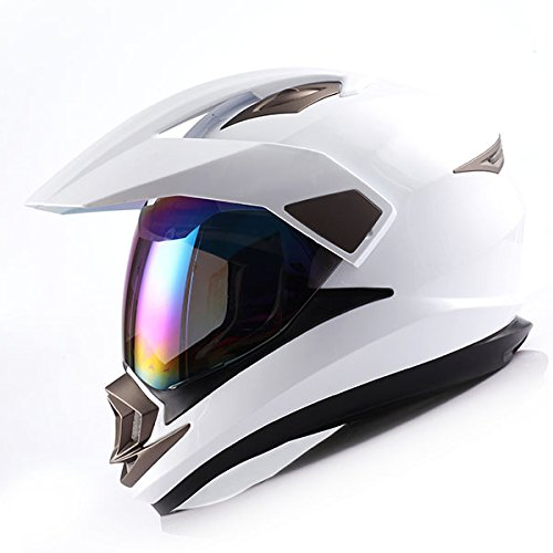 Sport Motorcycle Dual (Dual Sport Helmet Motorcycle Full Face Motocross Off Road Bike Glossy White,Size L)