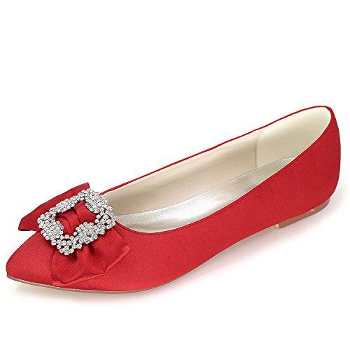 Elobaby Flat 6cm Tacco 0 Vestito Donna Lady Scarpe da Red Strass Satin Platform 35 42 da Fashion Sposa BrzBA7