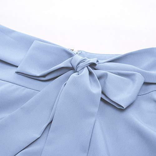 Belle Poque Women's High Waist A-Line Pockets Skirt Skater Flared Midi Skirt