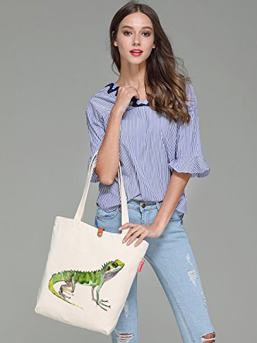 So'each Women's Lizard Animal Graphic Top Handle Canvas Tote Shopping Bag