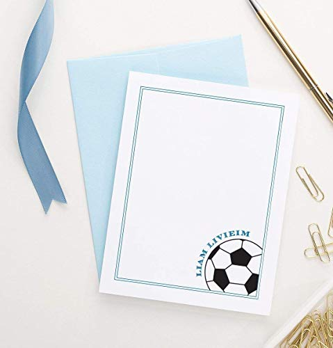 Soccer Personalized Stationery set, Personalized Baby Shower Thank You Card Boys, Boys Personalized Thank You Cards Kids, Your Choice of Colors and Quantity