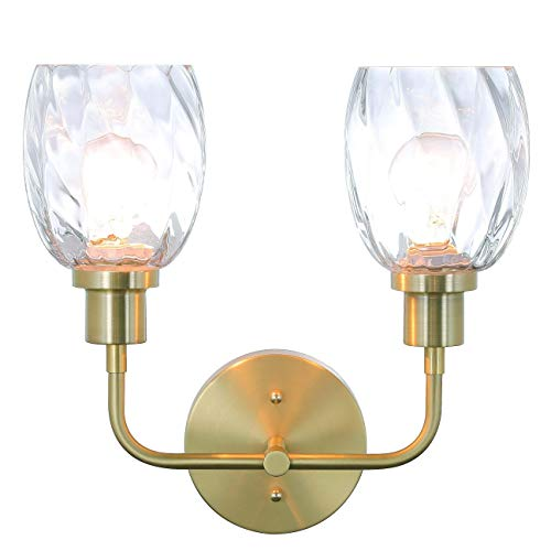 XiNBEi Lighting Wall Sconce, 2 Light Bathroom Vanity Wall Light with Clear -