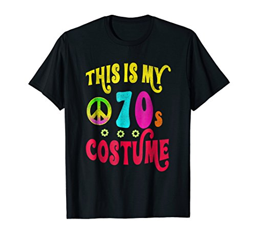 This is My 70s Costume Shirt Neon Groovy Peace Halloween Tee ()