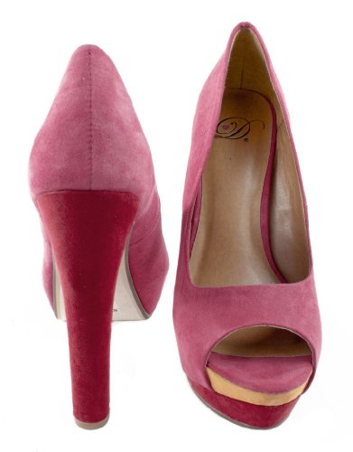 Lustacious Womens Peep Toe Platform Thick High Heel Slip On Dress Pumps Magenta Faux Suede 4nLXOsBEm9