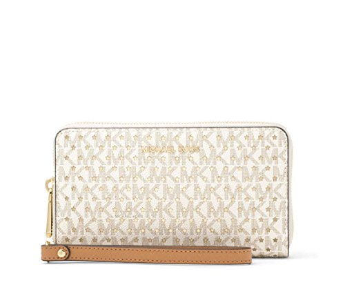 f0407df51c9dfc Michael Kors Jet Set Perforated MK Signature Smartphone Wristlet in Vanilla  by Michael Kors