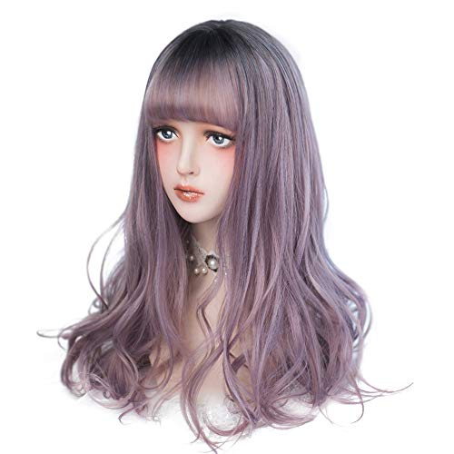 Long Wavy Purple Wig Bangs product image