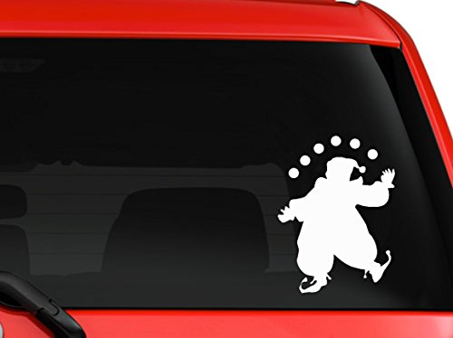 [Juggling Clown Circus funny car truck SUV window laptop macbook decal sticker Approx 6 inches white] (Scary Christmas Clowns)