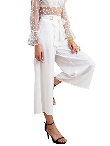 Casual Tie up Wide Leg Cropped Pants High Waist Elasticated Trousers (White,2/4) ()