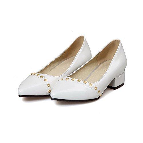 AllhqFashion Damen Ziehen auf Spitz Zehe Niedriger Absatz Eingelegt Pumps Schuhe Weiß