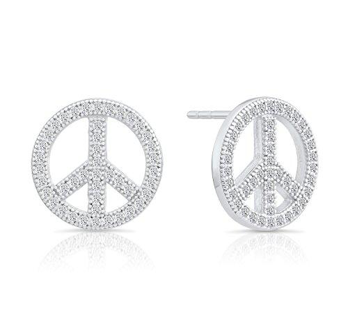 Sterling Silver Cubic Zirconia CZ Peace Sign Stud Earrings, 1/2'' Diameter 1/2' Mens Ring