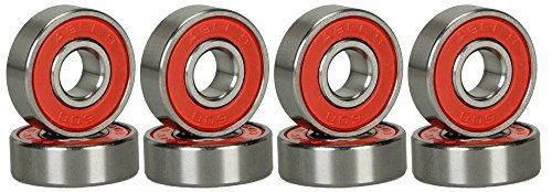Happy E-life Silver ABEC 9/ABEC 11 Bearings For Skateboard Deck Longboard Red Silver 1 set of 8 (ABEC-9)