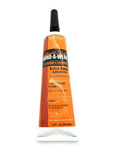 Gold Liquid Hair Glue - Liquid Gold Bond A Weav Extra Super Adhesive 1 oz Tube for Weaves and Hair Extensions