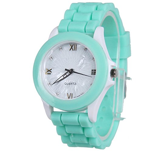 Creazy® Women Silicone Rubber Jelly Gel Quartz Casual Sports Wrist Watch (Mint Green)