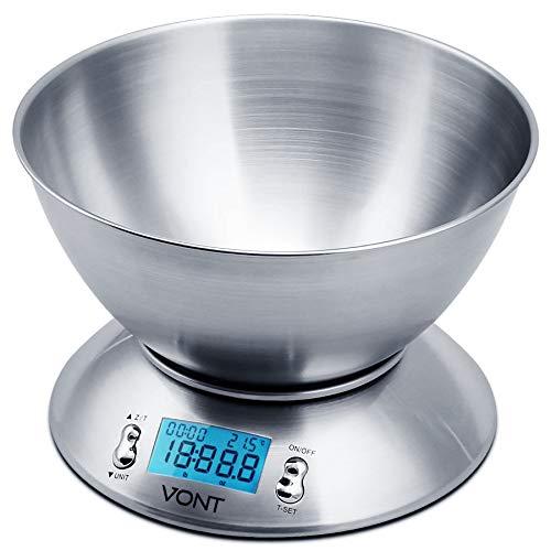 Vont 11lb/5kg Digital Kitchen Food Scale, Bowl Design, Stain