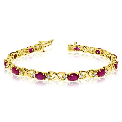 14k Yellow Gold Natural Ruby And Diamond Tennis Bracelet (9 Inch Length) (Yellow Ruby Gold Bracelet 14k)