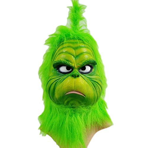 1Buy The Christmas Cosplay Grinch Mask, Funny Green Melting Face Latex Christmas Geek Movies Cosplay Headgear, Scary Mask Toy Helmet Props Xmas Decorations -