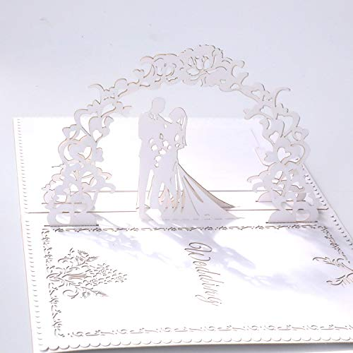(Paper Spiritz Pop up Wedding Cards Anniversary, 3D Pop up Wedding Card for Wife, 3D Valentine's Day Card, Anniversary, for Wife, with Envelopes, Wedding Invitations Blank Greeting Cards(White))