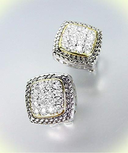 Designer Style Balinese Silver Wheat Gold Pave CZ Crystals Square Post Earrings For Women Set