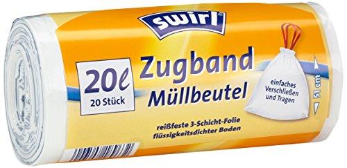 Swirl 20 l Zugband Müllbeutel, 9er Pack (9 x 20 Stück)