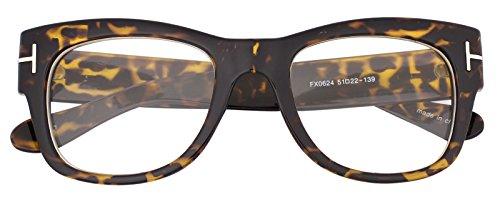 Oversized Square Thick Horn Rimmed Clear Lens Eye Glasses Frame Non Prescription  Tortoise  Clear