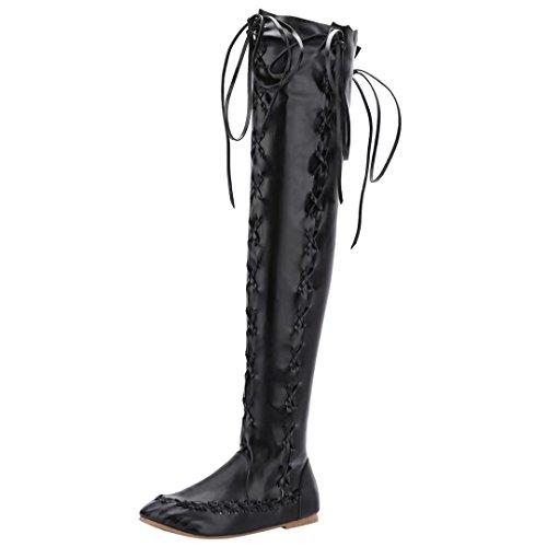 AIYOUMEI Damen Flach Overknee Stiefel mit Schnürung Bequem Modern Herbst Winter Langschaft Stiefel Schwarz