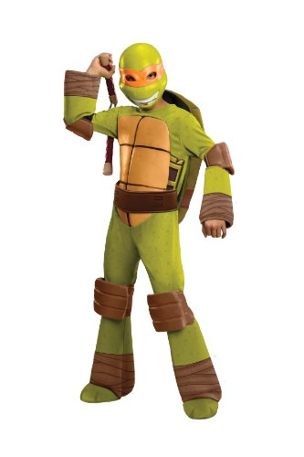 [Teenage Mutant Ninja Turtles Deluxe Michelangelo Costume, Medium] (Ninja Turtle Costumes Boys)