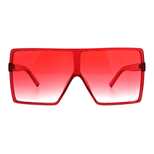 Womens Oversize Mobster Pop Color Rectangular Plastic Sunglasses Red ()