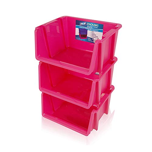 Stor-All Solutions Baskets Stackable Home Storage Bin Large Pink 3 Piece ()