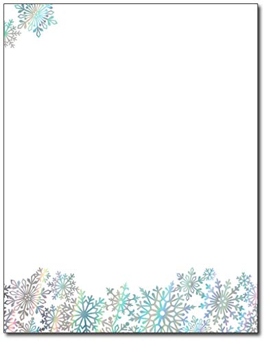 Rainbow Foil Snowflake Christmas Holiday Stationery - 40 Sheets - Features Beautiful Foil Accents