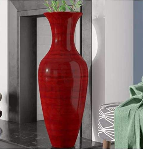 Green Floral Crafts – 47in Classic Mahogany Red Bamboo Floor Vase