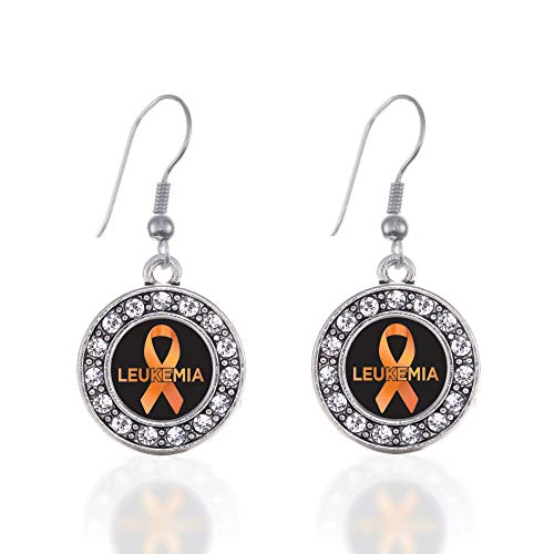 - Inspired Silver - Leukemia Support Charm Earrings for Women - Silver Circle Charm French Hook Drop Earrings with Cubic Zirconia Jewelry