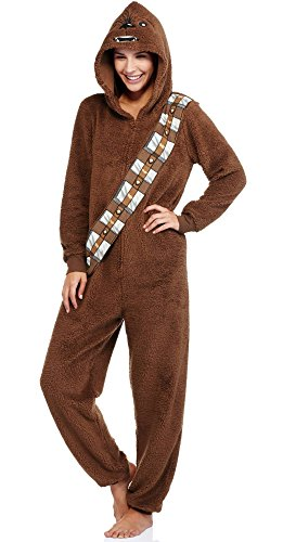 Star Wars Chewbacca Womens Pajama Union Suit One Piece Sleepwear (M (8-10))