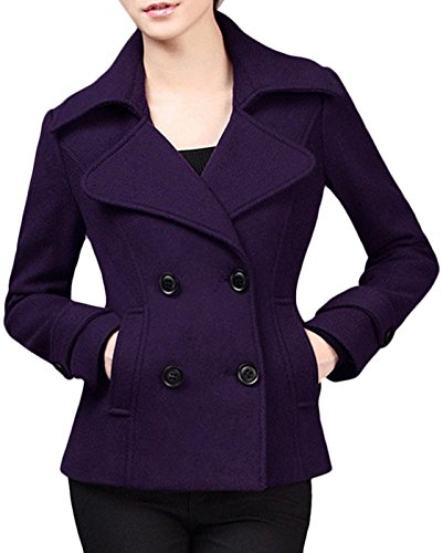 - Youhan Women's Woolen Pea Coat Double Breasted Short Trench Coat (Large, Purple)