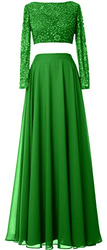 Sleeves Women Prom Lace Evening Piece Long Dress Gown Macloth 2 Formal Green Chiffon 4zU4dq