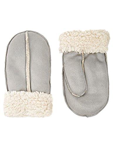 Gameyly Women's Winter Suede Faux Shearling Mitten One Size Grey