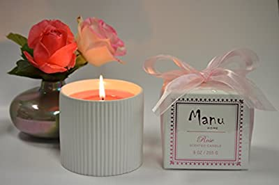 Manu Home Aromatherapy ROSE Candle in a Beautiful Ceramic White Base ~ Infused with Tuberose to Enhance the Serene Floral Notes ~ Perfect Gift! ~ 9oz fill!