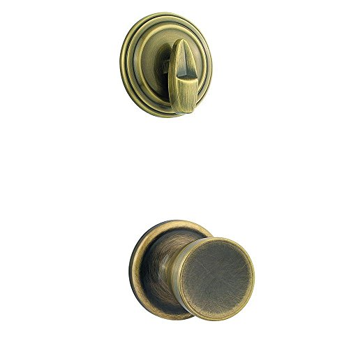 Abbey Single Cylinder Knob (Kwikset 966A 5 Abbey Single Cylinder Antique Brass Interior Pack Knob)