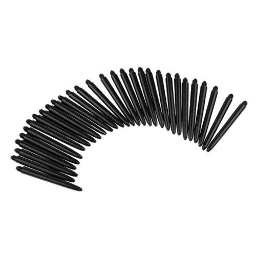 Baoblaze 30 Pieces Universal Plastic 2BA Dart Shafts Replacement Dart Stems Dart Accessories Multicolor to Choose - Black