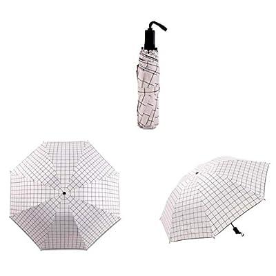 tbpersicwT Fashion Manual Triple Folding Grid Umbrella Anti UV Windproof Parasol Sunshade Sun Parasol Daily Folding Umbrella - Black : Garden & Outdoor