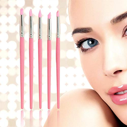 KIMME 5pcs Nail Art Sculpture Carving Pen Kit Silicone Head Painting Brushes for 3D Effect Shaping Drawing Tools (Pink)