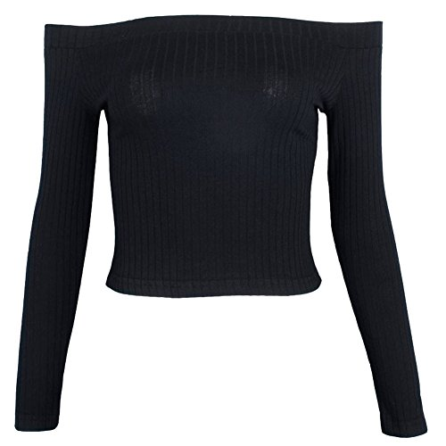 Gobought Womens Shoulder Rib Knit Pullover