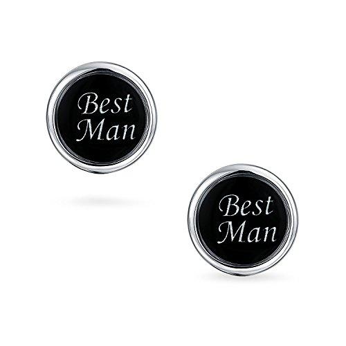 Bling Mens émail noir acier inoxydable plaqué mariage meilleur homme manchette