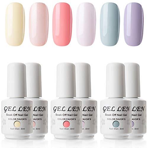 Gellen Gel Polish Set Colors of Innocence Series - Fresh Vibrant Colors Full Coverage Nail Art Kit 0.27fl oz (Polish Set Nail Set Full)