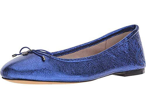 Crinkle Leather Heels - Sam Edelman Women's Felicia Royal Blue Soft Crinkle Metallic Leather 8.5 W US
