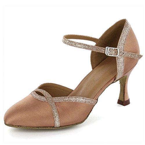 Sparkle Satin Sandals (Yiteli Women's Closed Toe Ballroom Dance Shoes,Tan Satin and Gold Sparkle,5 D(M) US)