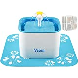 Veken Automatic Pet Water Fountain with 3 Replacement Filters & 1 Silicone Mat, 84oz/2.5L, Blue