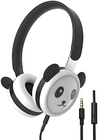 Panda Kids Headphones with Microphone, Stainless Steel Adjustable Headband, Food-Grade Silicone Skin, Volume Limited Wired Headset for Children Toddler Teens Boys Girls School Airplane Travel