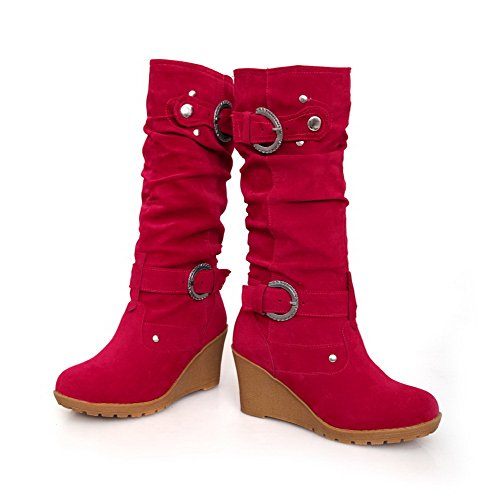AllhqFashion Womens Mid-Top Solid Pull-On Round Closed Toe High-Heels Boots Red s8LFtNP