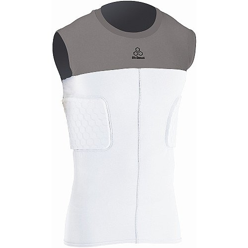 - McDavid Hexpad Hexmesh Sleeveless 3 Pad Compression Body Shirt, White/Grey, X-Large